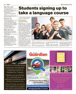 Students sign up to take a language course