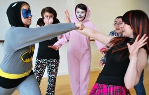 Leah Williams, Cayla Amos, Sammy-Jo Brunton, Jayne Harnic and Alice-Bethan Walters rehearsing for their performance.