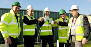 Stuart Jenkins, project manager for the new build, John Clarke managing director at John Turner Construction Group, Priestley principal Mike Southworth, Brian Kelly, area manager from John Turner, and Ian Turner, senior architectural technician at AA Projects.