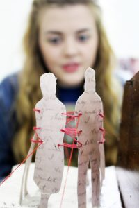 Megan Bryce's piece is inspired by a writing kit and letters sent by her great grandparents.