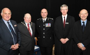 Chair of Governors Reg Haslam with Peter Carey, Deputy Mayor of Warrington, Chief Constable David Whatton, Deputy Pincipal Matthew Grant and Principal Mike Southworth