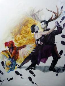 Rebecka Warburton - It Takes Two to Tango (Acrylic paint on canvas) web