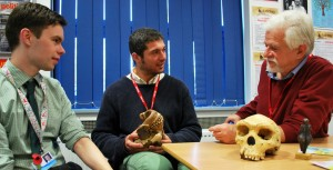 Oliver Lister with Adam Caris and Professor John Gowlett