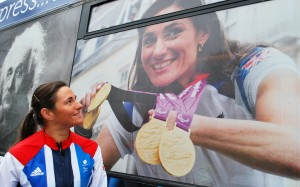 Paralympian Sarah Storey with the Knowledge Express