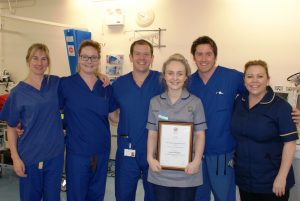 Lauren with the ODP/training team in Theatres at Warrington Hospital.