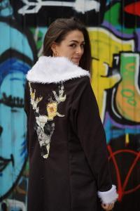 Cristina Lazaro modelling clothes by student brand Widdershin.